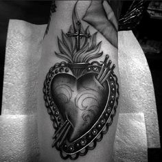 White With Black Ink Sacred Heart Guys Forearm Tattoos
