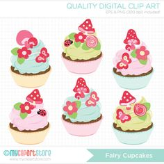 Fairy Cupcakes Clip Art / Digital Clipart - Instant Download