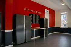 50 Garage Paint Ideas For Men - Masculine Wall Colors And Themes - Porsche Themed Red And Black Paint For Garage Walls - Painted Garage Walls, Garage Paint Colors, Garage Floor Paint, Wall Colors, Paint Colours, Garage Paint Ideas, Garage Color Ideas, Paint Walls, Garage Flooring