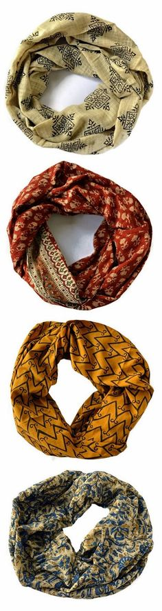 4 Amazing Boho Infinity Scarves - earth tones for fall, but fighting even for other seasons.