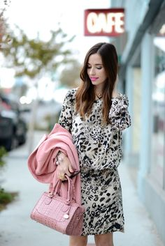 leopard print dress with pink coat on M Loves M @marmar