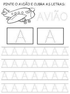 Nossa Pedagogia: Vogais pontilhadas Tracing Letters, Preschool Letters, Free Preschool, Learning Letters, Tracing Worksheets, Alphabet Worksheets, Preschool Worksheets, Eyfs Activities, Activities For Kids