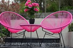 Modern Pink Scoop 3 PCE Setting Chairs Glass Table Outdoor Balcony Patio NEW | eBay