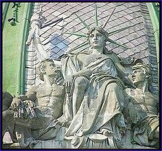 """🗽the Sitting Statue of Liberty🗽 ~ There is one Unique """" the Sitting Statue of Liberty """" in Ukrainian city of Lviv. It is a sculpture on a dome of the house (15, Freedom Avenue) built by architect Yuriy Zakharevych and decorated by Sculptor Leandro Marconi - while his cousin was Leonard Marconi, a Sculptor."""