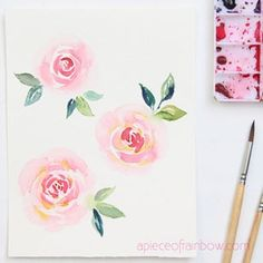 Paint beautiful watercolor rose 3 ways! Easy beginner's tutorial & video with 3 essential watercolor flower techniques including brushstrokes & wet-on-wet! – A Piece of Rainbow loose floral painting, Watercolor Flowers Tutorial, Easy Watercolor, Flower Tutorial, Watercolor Leaves, Veg Garden, Vegetable Garden Design, Garden Trellis, Regrow Vegetables, Diy Greenhouse