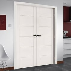 Seville White Primed Flush Door Pair is 1/2 Hour Fire Rated. #moderndoors #contemporarydoors #whitedoors