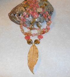 Leopard Skin Cherry Quartz Statement Necklace with Gold Dipped Leaf Pendant ~ by TrendyCharm on Etsy