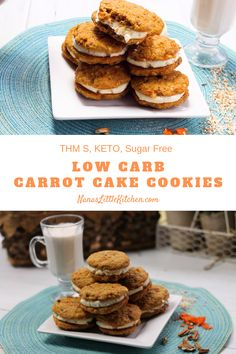 carrot cake cookies packed with flavor and nutrition. No one will guess these Lil Debbie style treats are Low carb KETO THM S! Sugar Free Carrot Cake, Low Carb Carrot Cake, Carrot Cake Cookies, Sugar Free Desserts, Keto Cookies, Sugar Free Recipes, Low Carb Desserts, Healthy Desserts, Protein Desserts