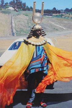 Sun Ra on location in California for Space is the Place, early 1970s. From the book Sun Ra + Aye Aton: Space, Interiors and Exteriors, 1972