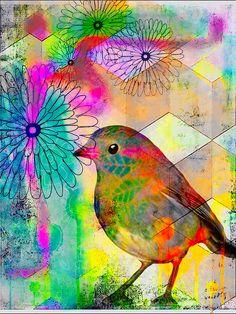 Bird art mixed media colorful digital collage