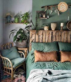 Decor Habitacion Bohemian Style Ideas For The Bedroom Decor Design # bohemianbedroom Bohemian Bedroom Furnishing Bedroom Bohemian . Bedroom Green, Home Bedroom, Bedroom Ideas, Bedroom Furniture, Budget Bedroom, Modern Bedroom, Bedroom Designs, Trendy Bedroom, Furniture Ideas