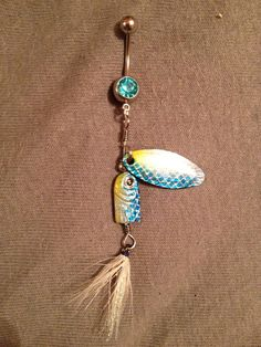 Aqua Blue Fishing Lure Bellybutton Ring on Etsy, $14.00