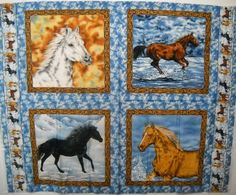 Horse Quilt Fabric Panel 43x35 Natures Corner #8692 Free Shipping USA by SeaPillowTreasures on Etsy