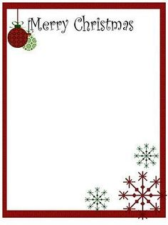 Free Christmas Letter Templates  Stationary FramesBackgrounds