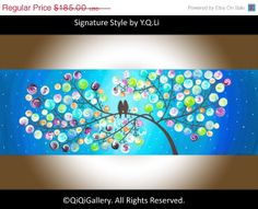 """Romantic Painting Abstract Painting Landscape Painting Original Impasto Painting Love Birds Painting Tree Painting Canvas """"Silent Night"""""""