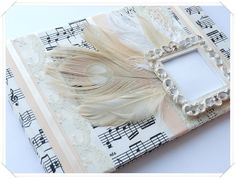Vintage Style Wedding Guest Book in Ivory and by ModernShabby, $41.00