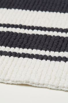 Striped Bath Mat - White/black striped - Home All