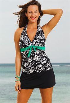 f4779cab6e3ea Tuscon Plus Size Tie Front Halter Slit Skirtini Bathing Suit Skirt
