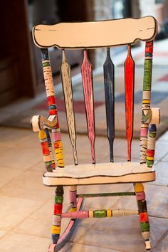 Outstanding Diy Painted Chair Designs Ideas To Try 18 Painted Wooden Chairs, Painted Rocking Chairs, Painting Wooden Furniture, Childrens Rocking Chairs, Funky Furniture, Chair Painting, Rustic Furniture, Luxury Furniture, Outdoor Furniture