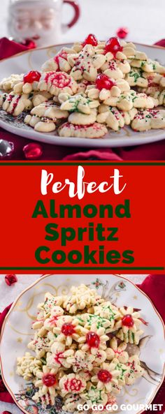 If youre looking for the best Christmas cookie recipes, this is the perfect Almond Spritz Cookies recipe! Ideal for the holidays with fun shapes, it will be one of your favorite desserts! With just a few simple ingredients like butter and eggs, you will enjoy baking these cute cookies. Move over Taste of Home, theres a new holiday cookie in town! #gogogogourmet #almondspritzcookies #christmascookierecipes #christmascookieideas
