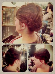 Short hair curly updo. Updo for bob, chin length hair. Bridal hair, bridesmaid soft hairstyle. Hair by www.wendyzarate.com. Twin Cities, MN.