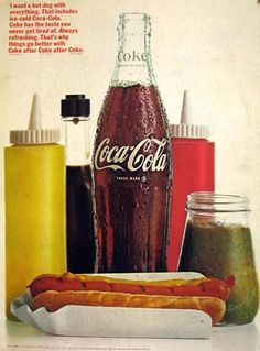 1966 Coca Cola Ad ~ Coke & a Hot Dog with Everything