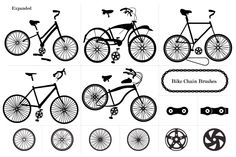 "This ""Bicycle"" themed vector set contains 5 unique and custom bicycle vector illustrations as well as a ""bike chain brush"" you can use to create awesome borders and typography. You get"