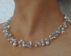 Einzigartige Hochzeits Draht Halsband. Weiß und Spitzen Perlen Perlenkette. Perlen Kette Draht Collier handgefertigt Draht häkeln Schmuck.