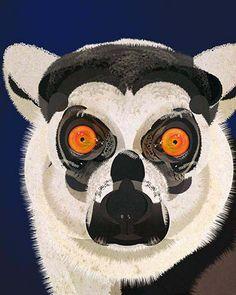 Full Lemur Face Illustration