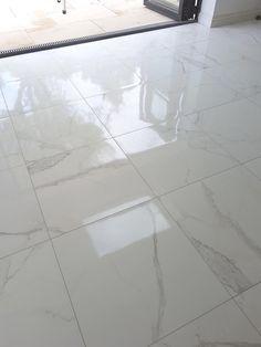 Carrara White Gloss Marble Effect Porcelain Floor Tile Palatina Marble Effect White Gloss Floor Tile - Tiles from Tile Mountain Hall Tiles, Tiled Hallway, Room Tiles, Bathroom Floor Tiles, Wall And Floor Tiles, Marble Tiles, Carrara Marble, Marble Floor Kitchen, Hall Flooring