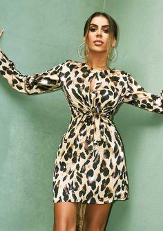 84be52bccd0 Missyempire - Shona Leopard Print Tie Front Dress Tie Front Dress