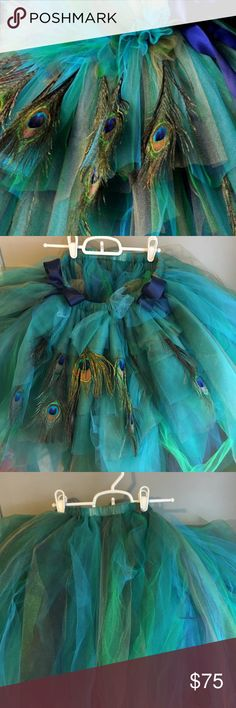 Peacock tutu Worn once for Halloween  Beautiful tutu  Purchased from Etsy Skirts