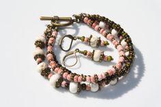 Three Strand Boho Bracelet Beaded Bohemian by 2BeBeadedBySana, $32.00