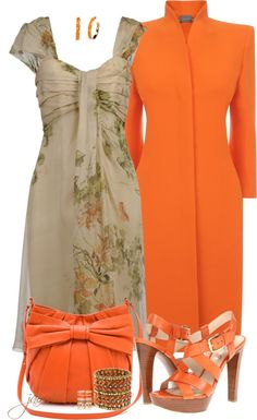 """Tan & Orange Floral"" by jaimie-a ❤ liked on Polyvore ♥ the coat and bag"