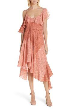 Hacinthia Asymmetrical Mix Sleeve Silk Dress, Main, color, Cinnamon