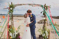 Beautiful Scottish beach wedding - I love the rustic arch and ribbons! (from A Boho Bride's Best Bits – W/C 25th August)