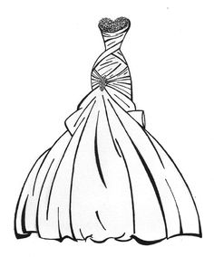 Dress Coloring Pages   Wedding dress coloring pages