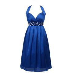Fran - Feminin og romantisk blå cocktailkjole der skærer det helt rigtige sted med diamant detalje - Vi elsker romantik, plus size
