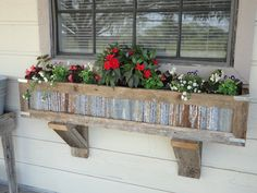 Handcrafted Rustic Window Box Planters out of reclaimed cedar and tin for standard window. To order contact on facebook @ Woodcrafters Wisdom.