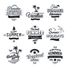 Black summer holiday labels vector 01