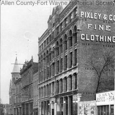 "Photograph of the Pixley-Long Building on West Berry Street, Fort Wayne, Indiana. Note on verso of photograph: ""The Pixley-Long in 1904 Building on W. Berry at Court St looking east toward Clinton St. The Post Office and Federal Bldg [building] is the turreted brownstone on the next corner and beyond that is the Majestic Theater.""  1904"