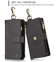 CaseMe 009 iPhone 7 Plus Metal Buckle Zipper Wallet Detachable Folio Case Black