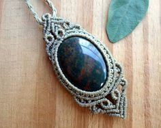 Colgante de macrame de Malaquita joyas de macramé por SelinofosArt