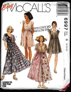 Womens Lagenlook Dress in 2 Lengths or Jumpsuit and Romper Easy McCalls Sewing Pattern 6997 Size 22 24 26 Bust 44 46 48 FF Mccalls Sewing Patterns, Vintage Sewing Patterns, Clothing Patterns, Dress Patterns, Romper Pattern, Miss Dress, N21, Mode Vintage, Jumpsuit Dress