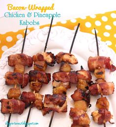BACON Wrapped Chicken and Pineapple Kabobs on the grill or in the oven!! Instructions for both in this recipe are available. You had ME at BACON!!! #Kebabs #Kabobs #Bacon #PineappleChicken