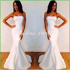 Online Shop Actual Dress Sexy Designer Fishtail Strapless Long White Mermaid Prom Dresses 2014 Formal Evening Dresses Aliexpress Mobile