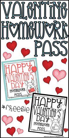 Valentine's Day Homework Pass from the teacher...freebie