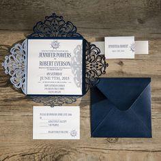 classic nautical navy blue laser cut wedding invitations EWWS095 as low as $2.09 |