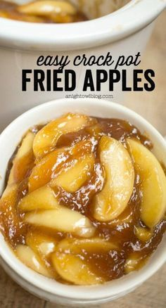 Easy Crock Pot Fried Apples These Easy Crock Pot Fried Apples are a perfect, effortless Thanksgiving side dish or an everyday treat! You'll love how easy they are to whip up! - 45 Thanksgiving Side Dish Recipes To Wow The Family Fruit Recipes, Apple Recipes, Pumpkin Recipes, Fall Recipes, Holiday Recipes, Recipies, Applesauce Recipes, Holiday Ham, Healthy Recipes