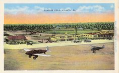 Atlanta opened a new $30,000 administration and passenger terminal with great fanfare on May 7, 1932. The terminal is pictured at the center of this postcard and served the airport until 1948. This was also the first control tower at Atlanta airport. The building at far right, with the letters E.A.T. (Eastern Air Transport) on the roof, was Atlanta's first airline terminal. The hangar on the left originally housed the facilities for American Airways.
